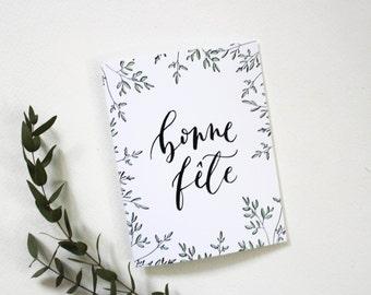 Bonne Fete Leafy Card - French Birthday Card