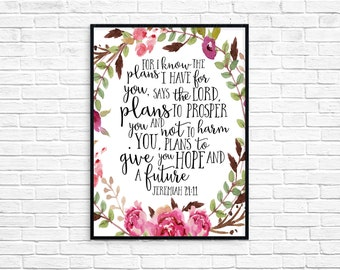 For I Know The Plans I Have For You To Give You Hope And a Future Bible Verse Art Printable Wall Decor Nursery Watercolor Jeremiah 29:11 Art