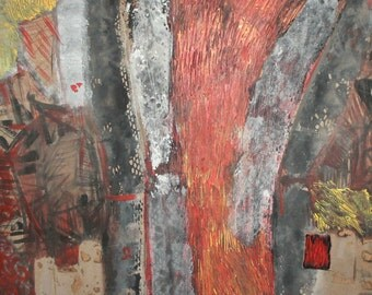 Vintage large abstract landscape oil collage painting