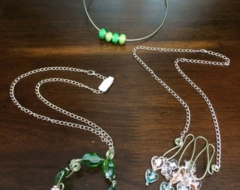 Handmade wire necklace and pendant. Each is a different design. Each at USD 28