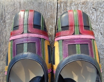 Vintage Shoes Made in Italy by ZOCAL; Multicolor Leather Shoes; Vintage Italian Shoes size 38 / UK 5 / US 7; Vintage Summer Shoes
