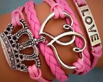 Bracelet by MWL love hearts and royal crown bracelet