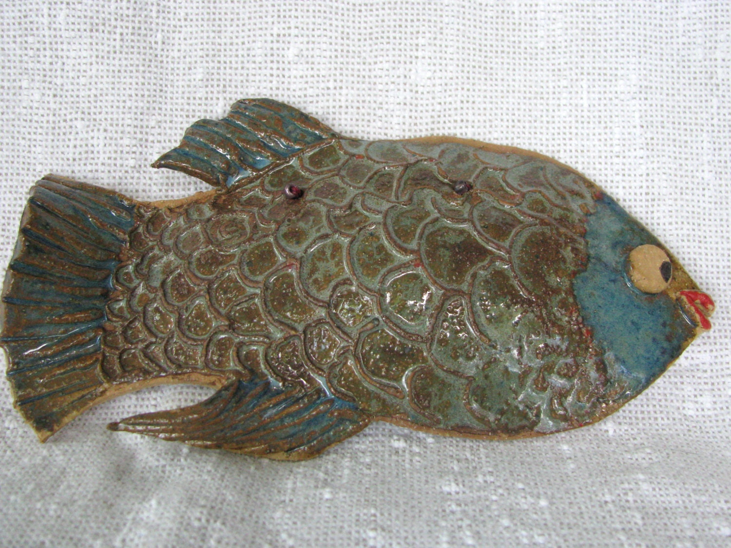 Wall Decor With Fish : Ceramic fish wall decor art pottery
