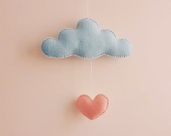 Mini Cloud Mobile | Baby | Kids | Nursery | Decor | It's raining Love! Ready to Ship!