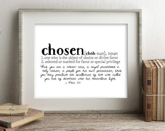 Crowns & Clay CHOSEN Defined Series Printable Art, 1 Peter 2:9, Definition Print, Affordable Home Decor, Scripture, Typography
