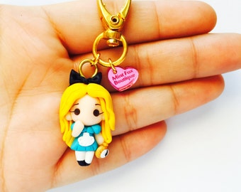 alice in wonderland lewis carol Polymer Clay Keychain Necklace chibi MADE TO ORDER
