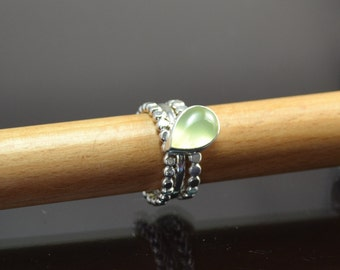 Stacking dotted band 3 piece ring set with prehnite cabochon.