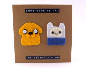 Adventure Time, Finn & Jake, funny birthday card