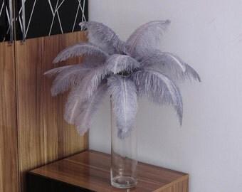 100pcs Silver/pale grey ostrich feather plumes,wedding centerpiece ,wedding table  decoration,table eiffel tower centerpiece