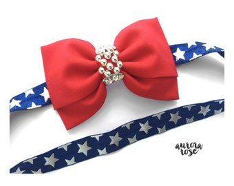 Americana Bow Headband/ Clip 4th Of July Collection