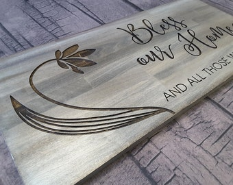 Bless our home and all who enter. Perfect wood sign for your home! Engraved Sign. Carved Sign