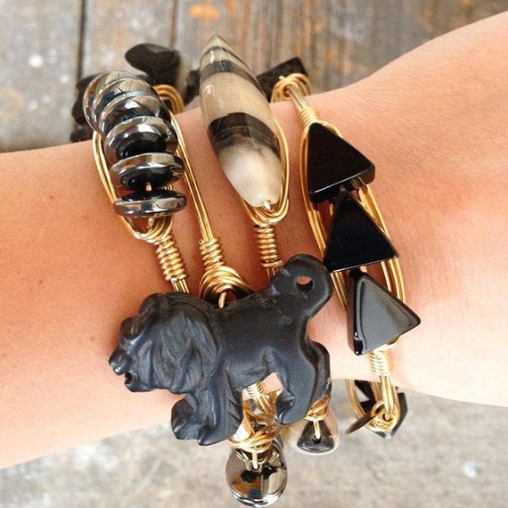Lion Black Agate Bangle Stack, Black Agate, Zebra Jasper Bangles, Hemimorphite Healing, Black Agate Arrows, Lioness Stack, Lion Bangle