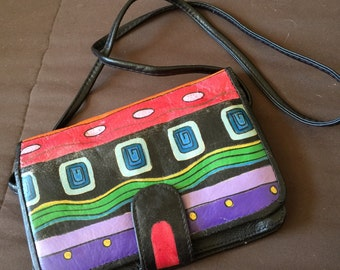 Hand painted leather cross body bag vintage