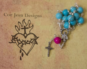 Pocket rosary / turquoise and pink ceramic beads / tenner rosary / single decade rosary / wire-wrapped / unbreakable rosary