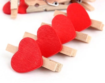 10 Mini Red Heart Clothespin