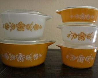 5 Piece Bake and Serve Pyrex Butterfly Gold Round Casserole Dishes 1 Pt #471, 1.5 Pt #472, 1 Qt #473, 1.5 Qt #474 & 2.5 Qt #475