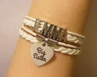 Big sister bracelet, big sister jewelry, sister bracelet, sister jewelry, sibling bracelet, sibling jewelry, fashion bracelet