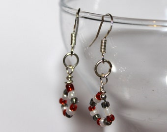 Beaded Earrings - Red/White/Black - Comes with Gift Bag