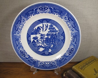 Vintage Willow Ware by Royal China - Blue and White Dinner Plate