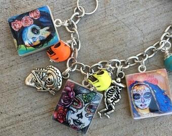 Sugar Skull Bracelet, Day of the Dead Charm Bracelet, Senoritas Charm Bracelet, Skull Charm Bracelet, Recycled Charm Bracelet