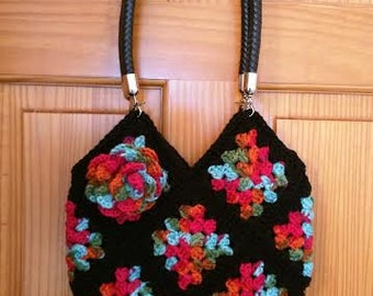 Crochet Granny Square Bag with Leather Handles and Removable Flower