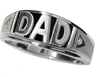 "Sterling Silver ""DAD"" Ring with 2-.005ct genuine diamonds Men's Ring (R751-2)"