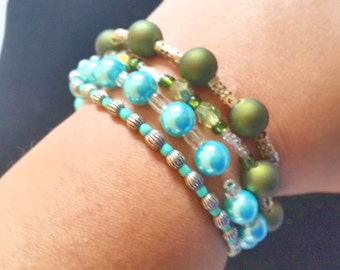 QUADRUPLE BRACELET- stretchy; beaded; turquoise, olive green