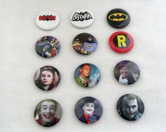 Set of 12 Batman 1 inch buttons.