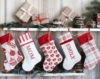 SET OF 6 Christmas Stockings