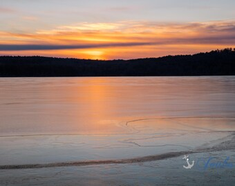 Winter Sunrise Over Lake Winnipesaukee ~ Meredith, New Hampshire, Church Landing, Lake Photography, Sunrise, Winter, Wall Decor, Joules, Art