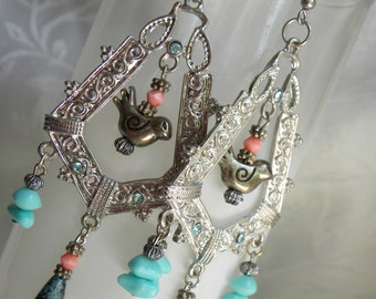 Big silver metalwork bird earrings, turquoise and coral earrings, pink and turquoise earrings, silver bird earrings, big chandelier earrings