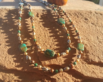 Turquoise 2-Strand Necklace