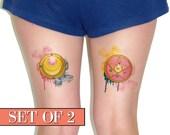 Temporary Tattoo - Sailor Moon, Crescent moon, Moon, Watercolor, Cosplay, Geekery