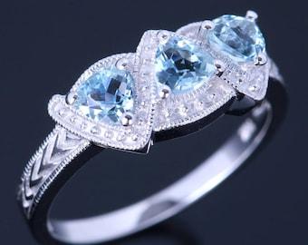 0.66tcw 3 Stone Trillion Cut Natural Sky Blue Topaz Ring, Blue Topaz is Decemeber Birthstone!