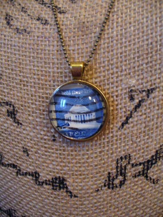 Stamp Jewelry, Stamp Necklace, Vintage Stamp, Stamp Pendant, Pendant Necklace, One of a Kind, Jefferson Memorial Stamp, MarjorieMae