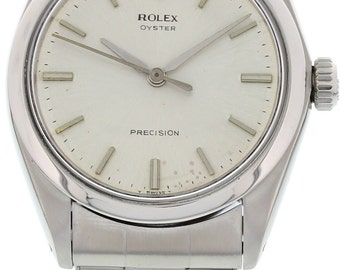 Men's Vintage Rolex Oyster Precision Stainless Steel Watch 6427
