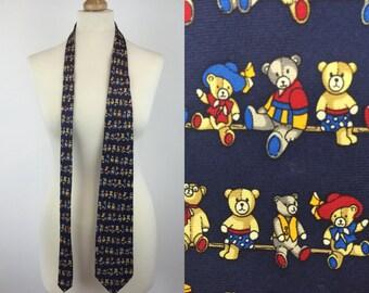 Vintage Teddy Bear Silk Tie Mens Necktie Novelty Fun Bears In Hats