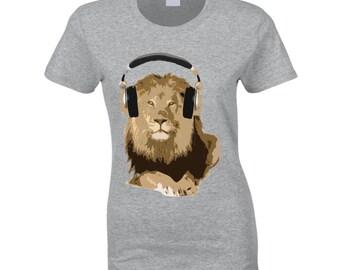Lion King Wearing Headphones Music Lover Graphic T Shirt