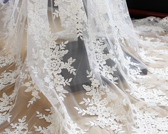 Ivory Floral Lace Fabric Embroidered Tulle Wedding Dress Bridal Veil Curtain Fabric 51'' Wide 1 Yard S0294