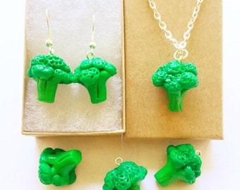 Broccoli jewelry set,Broccoli earring,Broccoli necklace,Vegetable earring,Vegetable necklace,Veggie jewelry,Food jewelry,Food necklace