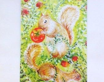 Set of 3 postcards,Squirrel postcard,Postcard set,Squirrel painting postcard,Watercolor squirrel postcard,Squirrel art,Squirrel watercolor