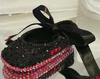 Black Rhinestone Red Bottom Baby Shoes, Swarovski Heart Baby Shoes, Handmade, AB Rhinestone, Ribbon Rhinestone Ballet Shoe, Wedding, Baptism