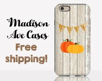 Rustic Fall Pumpkin Orange Wood Vintage Cute Simple Winter Custom Seasonal Autumn Samsung Galaxy Edge iPhone 5s 4 4s 6 Plus Tough Phone Case