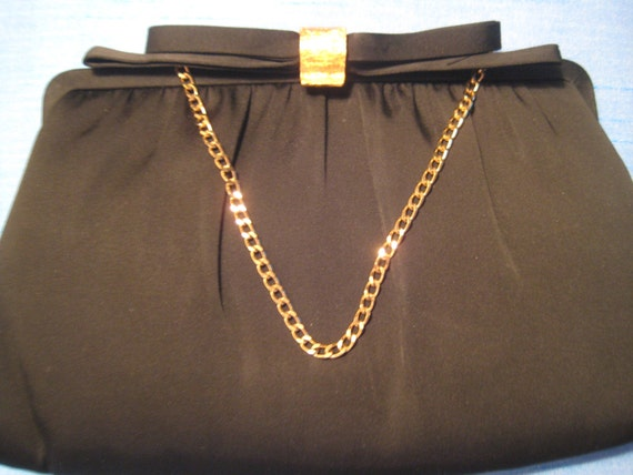 Black Satin After Five VTG Evening Bag