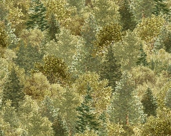 White Tail Ridge Green Trees from Quilting Treasures by the yard