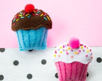 Sprinkle Cupcake Felt Brooch