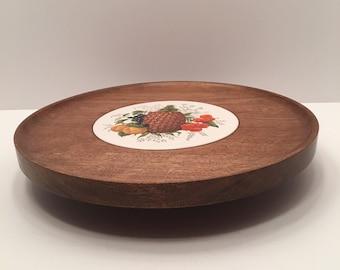 Vintage Lazy Susan ~ Fruit Design  Vermont Woodware ~ Hand Turned  Shelburne Vermont