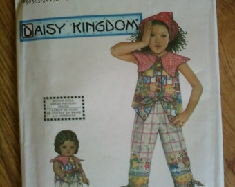 """Simplicity Daisy KingdomPattern Size 5,6,7,8 for Girls and 18"""" doll Pantsuit"""