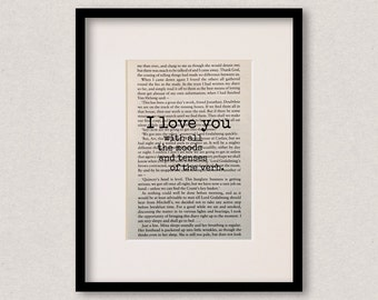 """Dracula quote print - Romantic quote - Engagement gift - Wedding gift - """"I love you with all the moods and tenses of the verb."""""""