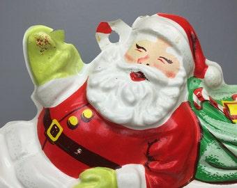 SALE! vintage plastic Santa in sleigh wall decor
